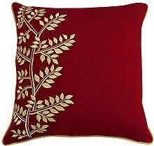 S4Sassy Red Cotton Pillow Cover Leaf Embroidered