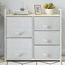 Saadiya Grey Chest of 5 Drawers Storage Cabinet