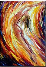 SADHAF Abstract Color Line Art Canvas Painting