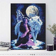 SADHAF Wolf Full Round Diamond Paint Cartoon