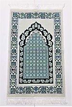 SAFA OFF WHITE/Green Beautiful Turkish Prayer Mat