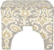 Safavieh Ellie Ottoman, Wood, Grey/Yellow/Off White