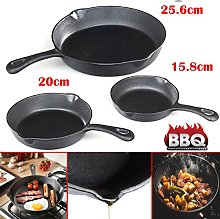 Safekom 3x Fry Pan Non-Stick Pre-Seasoned