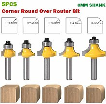 Safety 8mm Shank Round-Over Router Bit for 2 Flute