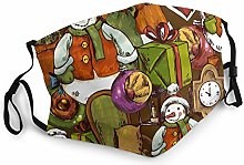 Safety Masks, Christmas Tree Clock Santa Claus