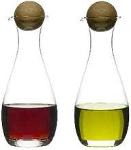 Sagaform - Oval Oak Oil Or Vinegar Bottles With