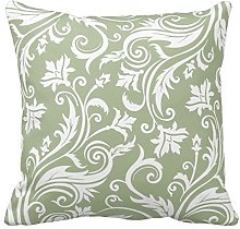 Sage Green and White Floral Pattern Throw Pillow