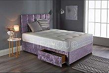 Saif Crushed Velvet Divan Bed Set With Memory