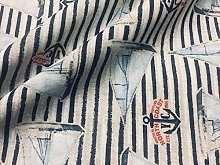 Sailboat Fabric Marine Stripe Nautical Curtain