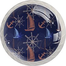 Sailboat Pattern Drawer Round Knobs Cabinet Pull