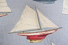 Sailing Linen Blue Cotton Curtain Fabric Designer