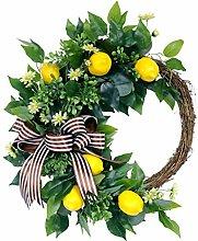 Sailsbury Fake Lemon with Leaves Hanging Wreath
