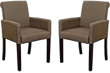 Saiph Brown Fabric Upholstered Carver Dining