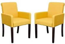 Saiph Yellow Fabric Upholstered Carver Dining