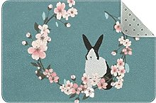 Sakura and Rabbit Door Mat, Machine Washable Soft