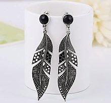 SALAN Vintage Black Earrings Long Leaf Drop
