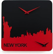 Saldana Wall Clock Ebern Designs Colour: Red