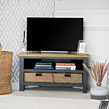 Salisbury Blue Painted Oak Corner TV Unit with