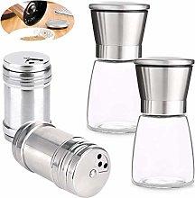 Salt Pepper Grinder Set,Xiuyer 2pcs Manual Mills