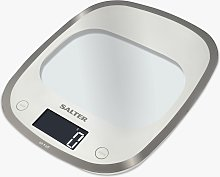 Salter Curve Glass Electronic Kitchen Scale, White