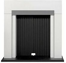 Salzburg Stove Fireplace in Pure White with Grey