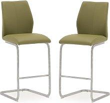 Samara Bar Chair In Green Faux Leather And Chrome
