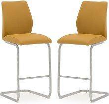 Samara Bar Chair In Orange PU And Chrome Legs In A