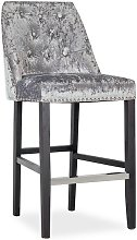 Samuel Bar Chair In Crushed Silver Velvet With
