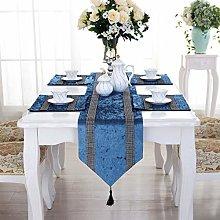 San Tungus 13x84-Inch Blue Rhinestone Table