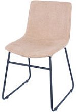 sand fabric upholstered dining chairs with black
