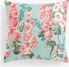 Sanderson Hollyhocks Cushion, Sky / Pink