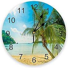 Sandy Beach Trees 3D Wall Clock Modern Design