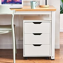 Sanery Modern File Cabinet Wooden Movable Filing