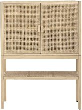 Sanna tall buffet in natural pine and rattan