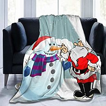 Santa Claus with Snowman Ultra-Soft Fleece Blanket