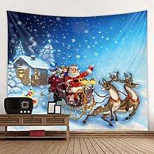 Santa Sika Deer Snowflake Christmas Party Tapestry