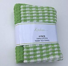 Sara Textile 4 Pack Mono Check Terry Tea Towels