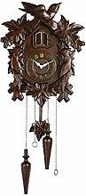 sararui Wall Clock Brown Handmade Wooden Cuckoo
