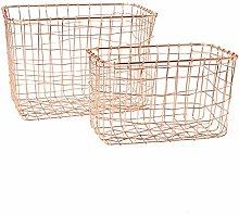 Sass & Belle Copper Wire Mesh Rectangular Baskets