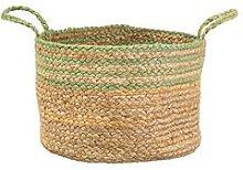 Sass & Belle Green Stripe Jute Storage Basket