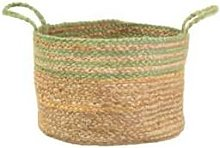 Sass & Belle - Green Stripe Jute Storage Basket