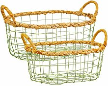 Sass & Belle Green Wire Storage Basket - Set Of 2