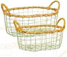 Sass & Belle - Green Wire Storage Basket Set of 2