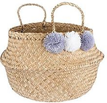 Sass & Belle Grey Pom Pom Storage Basket
