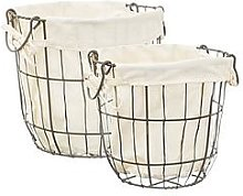 Sass & Belle Set Of 2 Round Wire Storage Baskets