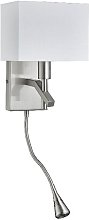 Satin Silver Wall Light With Led Flexi Arm And