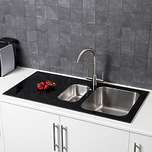 Sauber 1.5 Bowl Kitchen Sink with Black Glass Surround and Left Hand Drainer