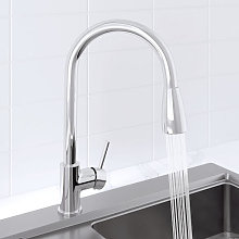 Sauber Baden Pull Out Kitchen Mixer Tap Chrome