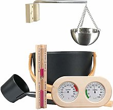 Sauna Accessory Kit, 7L Sauna Bucket Set With Long Handle Spoon Hourglass Thermometer/Hygrometer, Sauna Aromatherapy Oil Cup Kit, Luxury Aluminum Sauna Tool Se