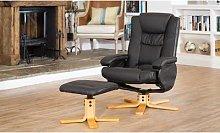 Savanna Swivel Chair and Footstool: Black